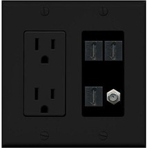 RiteAV  (2 Gang Decorative) 15A Power Outlet 3 HDMI Black Coax Black Wall Plate - $30.53
