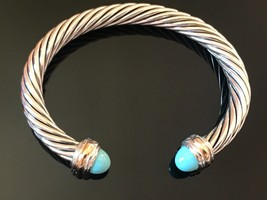 David Yurman Sterling Silver & 18k Gold TURQUOISE 7mm Cable Classic Bracelet - $499.99