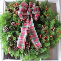 Christmas Wreath Fresh Balsam Winterberry Tarta... - $44.47