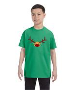 Kids T Shirt Reindeer Face Christmas Shirt Cool Funny Xmas Gift - $10.94