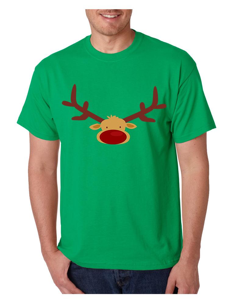 Men's T Shirt Reindeer Face Christmas Shirt Cool Funny Xmas Gift