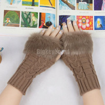 Lady Women Winter Knitted Fingerless Faux Rabbit Fur Wrist Hand Warmer G... - $7.99