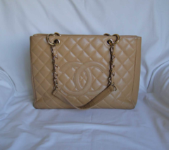 AUTHENTIC Chanel Beige CAVIAR Grand Shopping Tote GST - $1,200.00