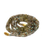 """Natural Labradorite 3-4mm rondelle faceted beads 16"""" beaded Choker Long ... - $10.48"""