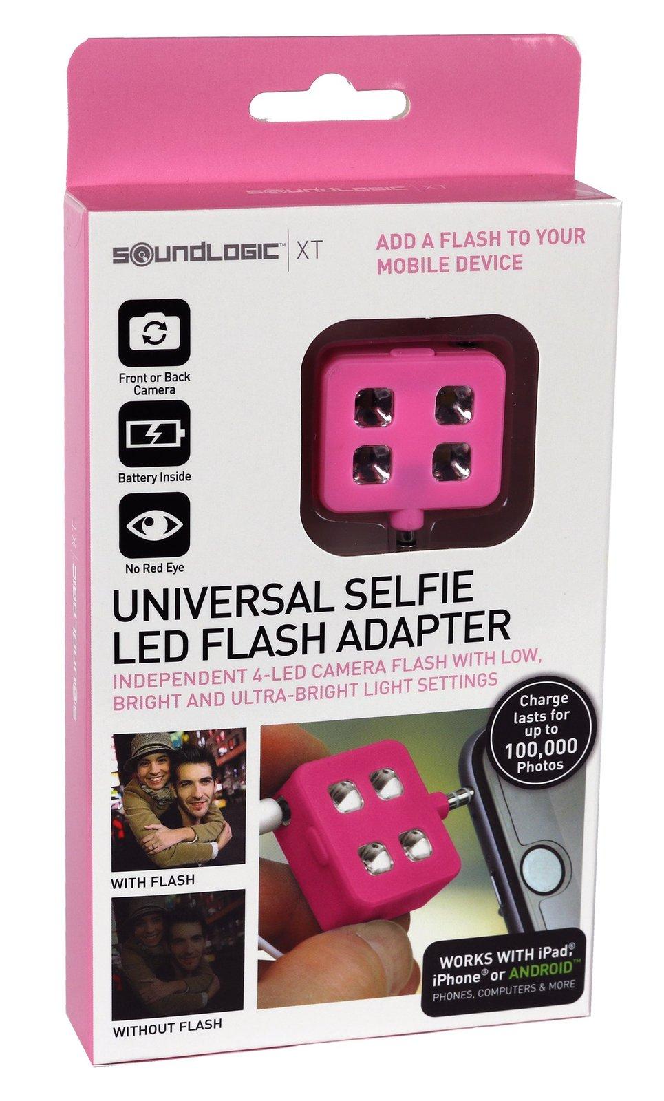soundlogic xt universal 4 led selfie flash light adapter pink pda accessories. Black Bedroom Furniture Sets. Home Design Ideas