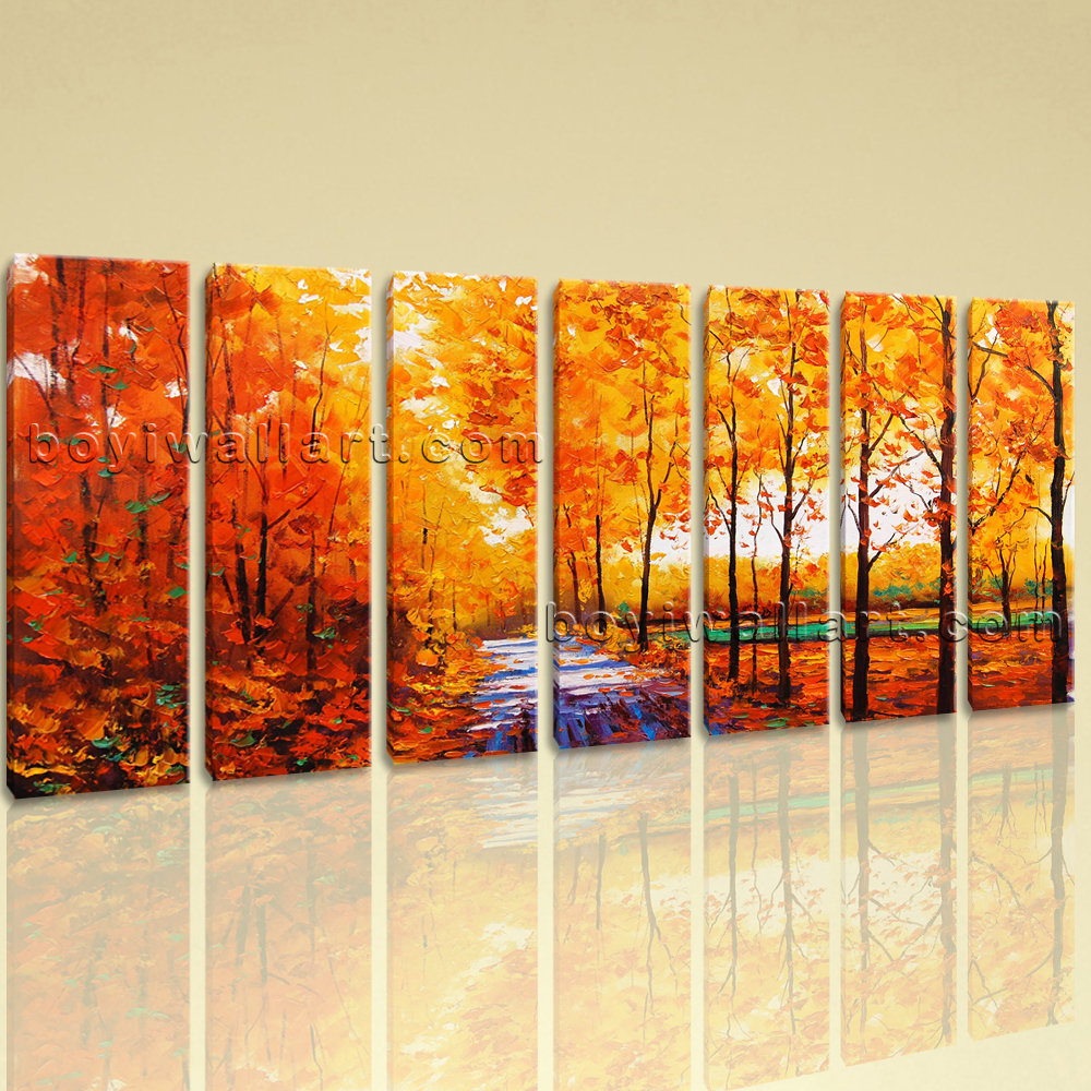 Extra Large Autumn River Painting Landscape Contemporary