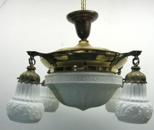 Antique Neoclassic Victorian Brass Hanging Lamp Fixture with Glass Shades