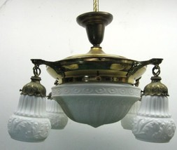 Antique Neoclassic Victorian Brass Hanging Lamp Fixture with Glass Shades - $345.00