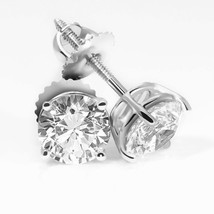 4CT Round Solid 18K White Gold Brilliant Cut Basket ScrewBack Stud Earrings - $218.12