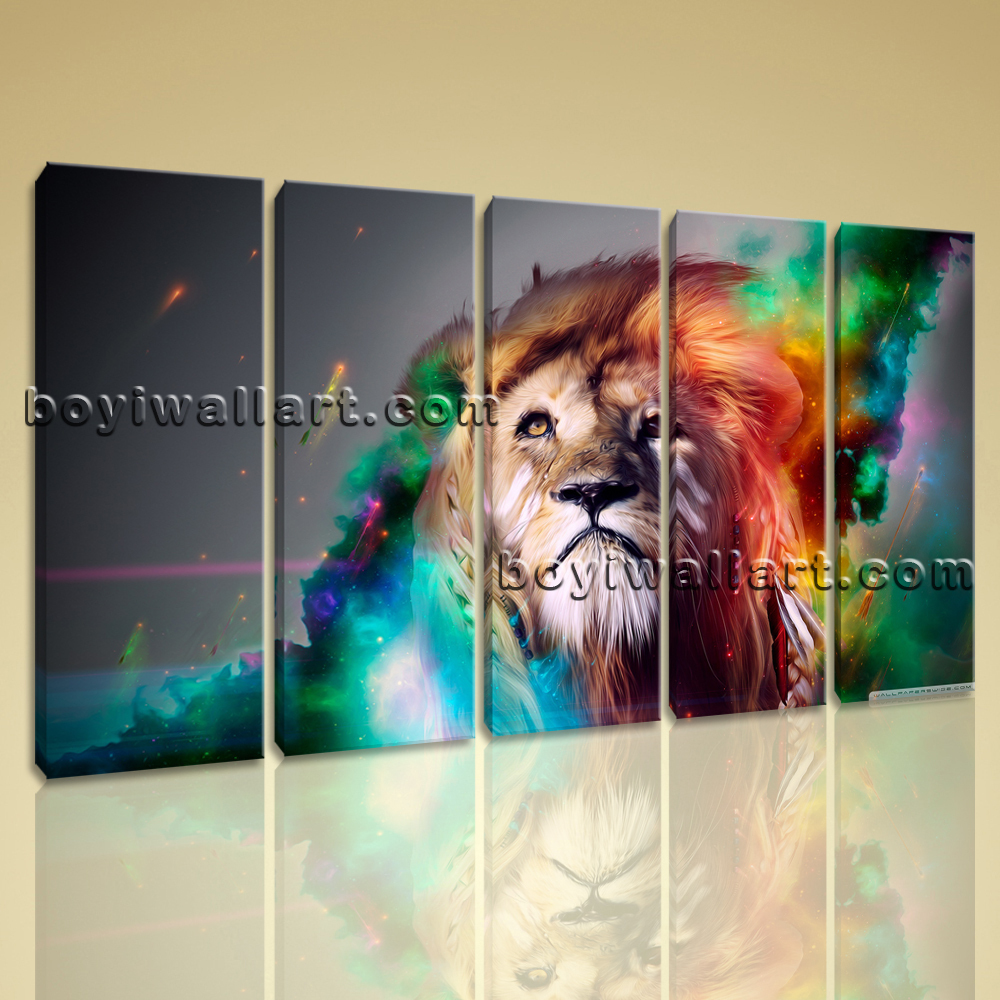 Large abstract lion animal print canvas wall art dining for Dining room wall art canvas