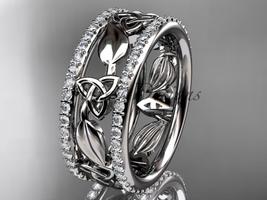 platinum  celtic trinity knot wedding band, diamond wedding band CT7233B - $2,675.00
