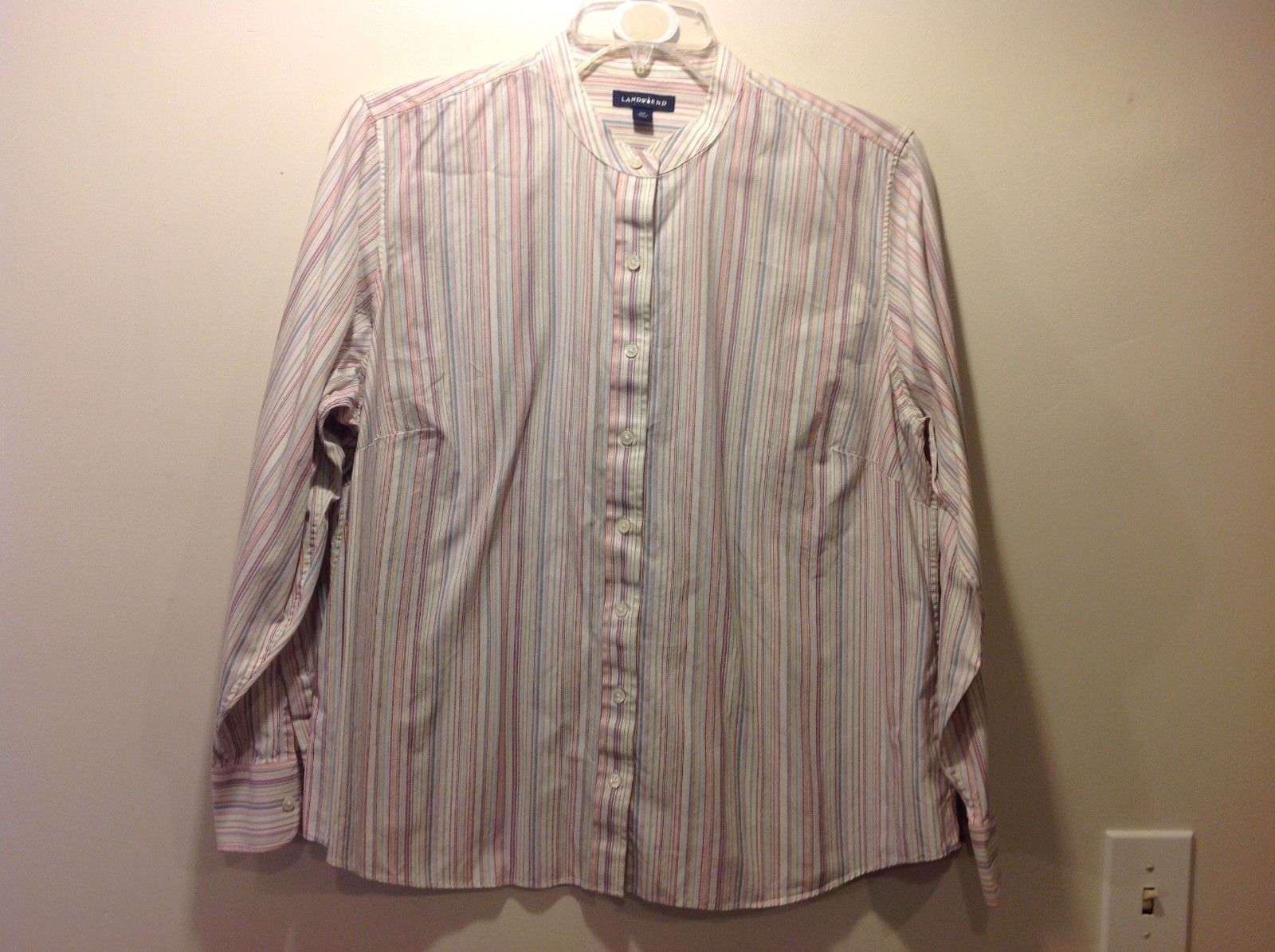 Great Used Condition Land's End 20W Multicolor Vertical Striped Button Up