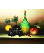 Bottle Of Wine & Fruit - 19 1/2 x 15 1/2 Oil Painting on Canvas - $50.00