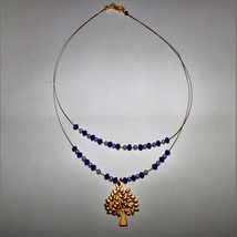 Handcrafted beaded necklace with golden life tree (type 2) - $26.08