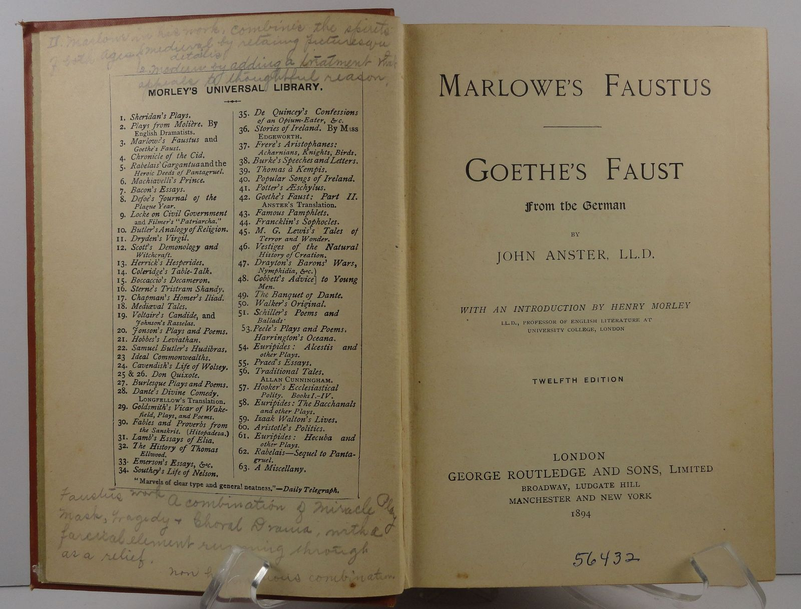 Marlowe's Faustus Goethe's Faust by John Anster 1894