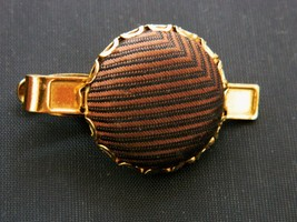Men's Vintage 60s Tie Clip Clasp Accessories Brown Striped Fabric Gold T... - $14.01