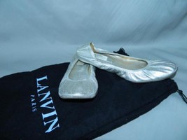 Lanvin Ballet Flat Classic Ballerina Shoe Dust Bag Metallic Silver Leath... - $158.35