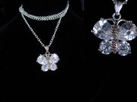 Sterling necklace Butterfly necklace Cz butterfly necklace silver fine womens je - $55.00