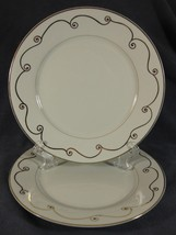 Pier 1 Holiday Scroll Dinner Plates Lot of 2 Porcelain White with Gold Trim - $22.95