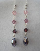 Pink Purple Crystal Glass Tear Drop Earrings Dangle Beaded Handmade Pier... - $28.00
