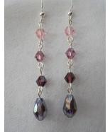 Pink Purple Crystal Glass Tear Drop Earrings Dangle Beaded Handmade Pier... - $28.00