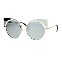 Womens Round Cateye Sunglasses Oversized Metal Wing Top Frame Mirror Lens - $10.95