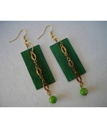 Green Shell Beaded Earrings Painted Wood Gold C... - $38.00