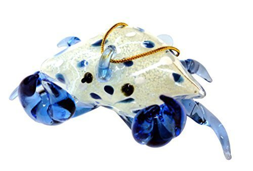 Blue Glass Crab Christmas Ornament, Glows in the Dark