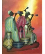 African Men & Their Music - 15x19 Oil Painting On Canvas - $50.00