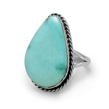 .925 Sterling Silver Stabilized Freeform Turquoise Women's Ring - $194.95