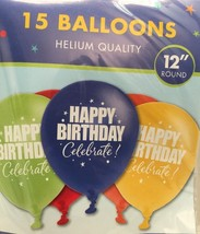 """A Year To Celebrate Happy Birthday 11"""" Latex Balloons (15 Pack) Party Supplies - $3.50"""