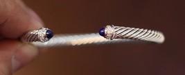 David Yurman S/S 925 5mm Cable Lapis Lazuli Diamonds Cuff Bracelet - $349.99