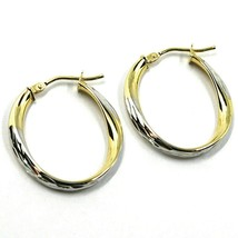 18K YELLOW WHITE GOLD OVAL CIRCLE HOOPS PENDANT EARRINGS, TWISTED 2.5cm ONDULATE image 2