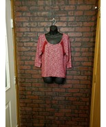 Wet Seal Womens Sz L Red Lace Knit Sweater 3/4 Sleeve - $11.99