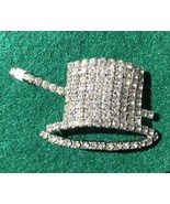 Top Hat & Cane Vintage Rhinestone Pin Brooch New Year's Eve - $14.01