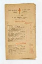 Red Dragon Mah Jong Score Card 1923 Mrs Prescott Warren Newton Massachus... - $245.52