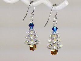 Christmas Tree  Earrings/Blue Gold / made w/Swarovski Crystal Elements / .925 image 4