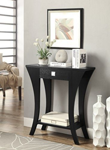 Black Finish Shelf Living Bed Room Decor Console Sofa Entry Table Drawer Wood