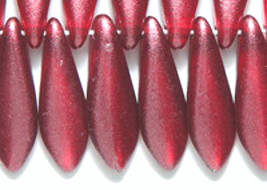 Large Dagger Czech Bead Red Satin 5x16mm 50, glass spear burgundy - $5.25