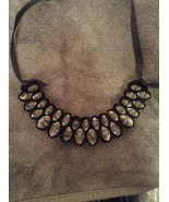 Trendy Clear Crystal Classy Statement Black Necklace - $4.95