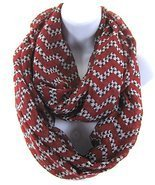 Burgundy Chevron Houndstooth Print Infinity Fas... - $15.83
