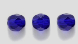 6mm Fire Polish, Transparent Cobalt, Czech Glass Beads 50 dk blue - $1.75