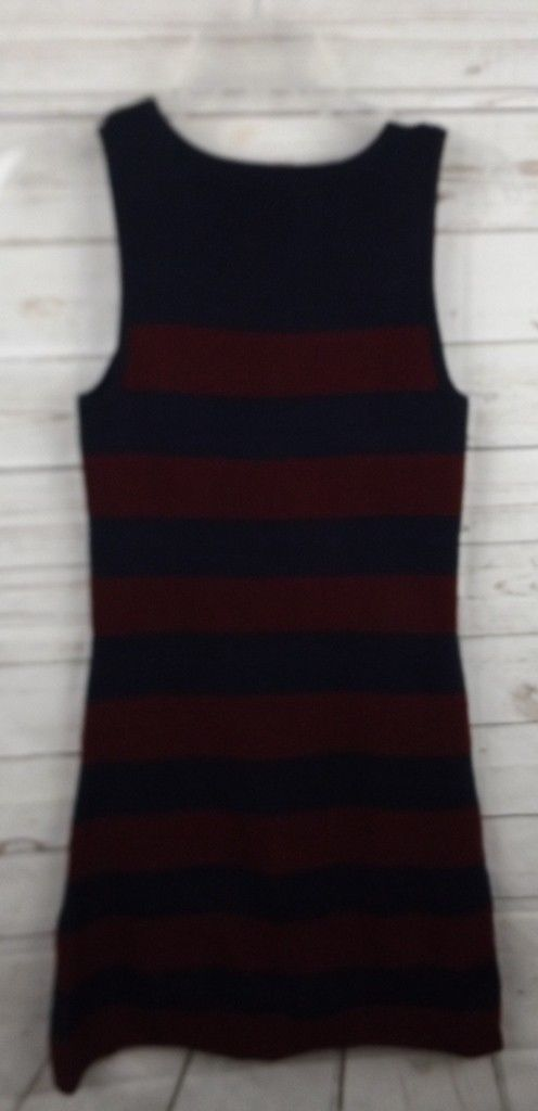 Ann Taylor Loft Sweater Dress XS Wine Nabvy Blue Stripe Sleeveless