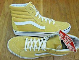 7ff37280070 Vans Mens Sk8-Hi Ochre Yellow True White Canvas Suede Skate Shoes Size 1.