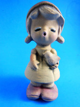 """Vintage Clay Pottery Girl with bird 4.5"""" whistling lips - $4.15"""