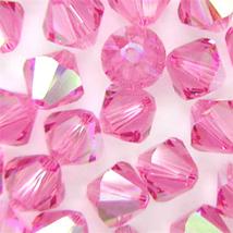 6mm Rose AB Swarovski Xilion Beads, 5328, 72 pink glass bicone - $13.00
