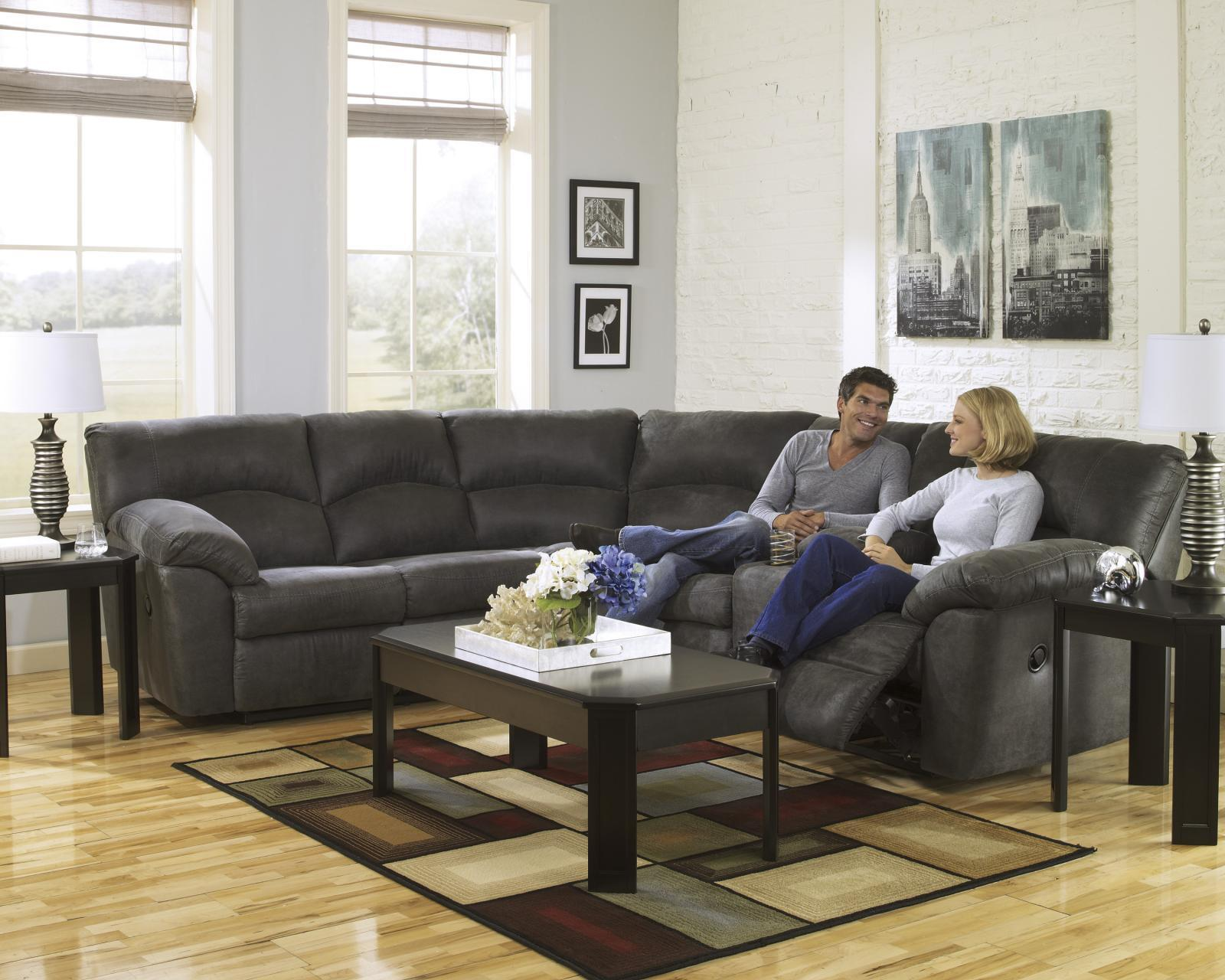 Ashley Tambo 2 Piece Living Room Sectional in Pewter Contemporary Style