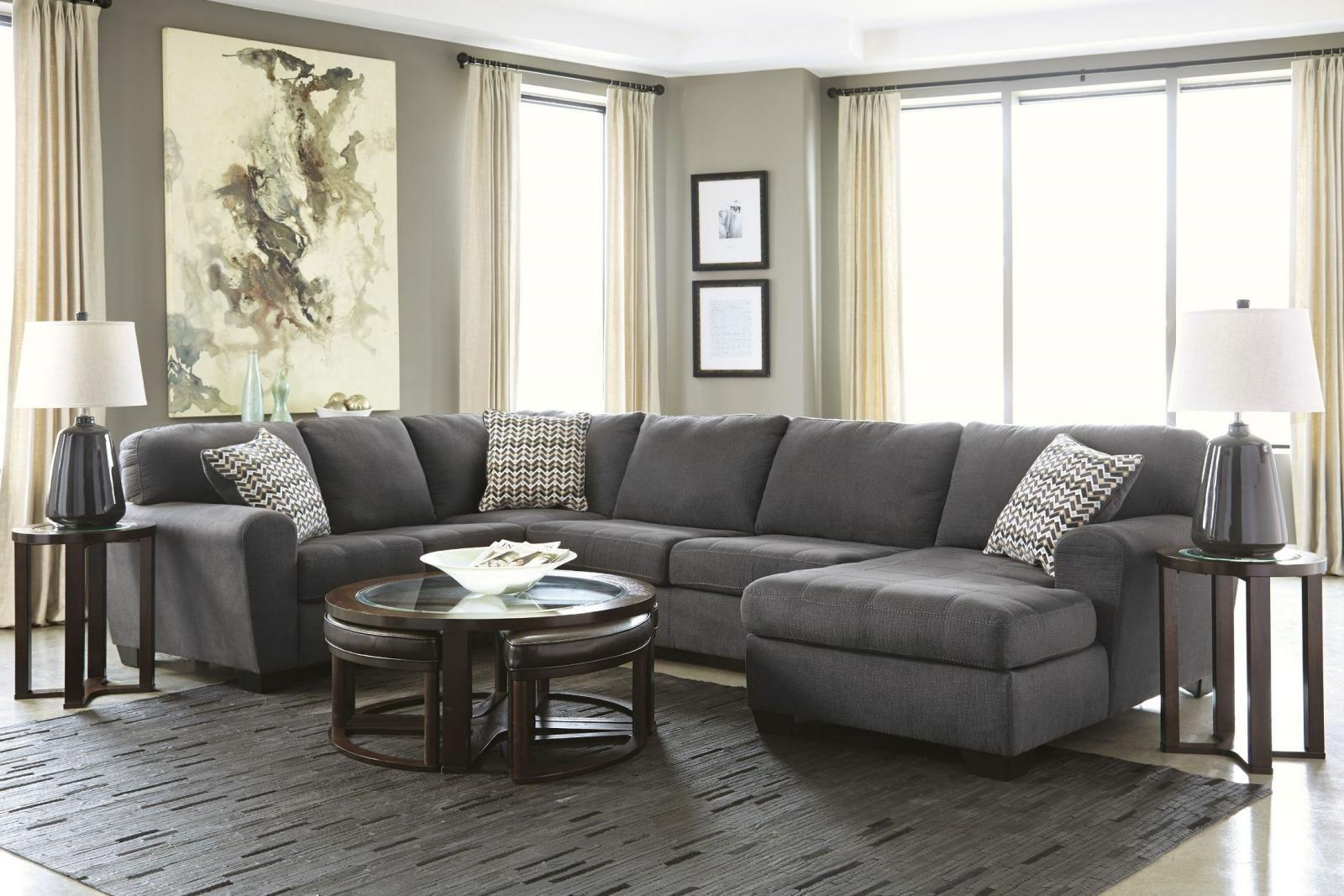 Ashley Sorenton 3 Piece Sectional in Slate Right Hand Facing Contemporary Style