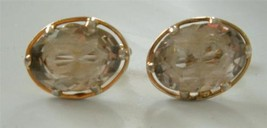 Vintage SWANK Cufflinks Faceted Glass Crystal Gem Smoky Champagne Gold P... - $29.69