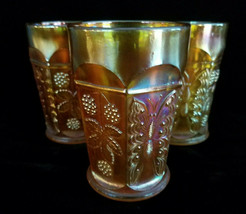 Set of 3 Fenton Marigold Orange Butterfly and Berry Carnival Glass Tumbl... - $34.60